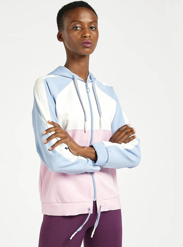Colourblocked Zip Through Jacket with Hood and Long Sleeves
