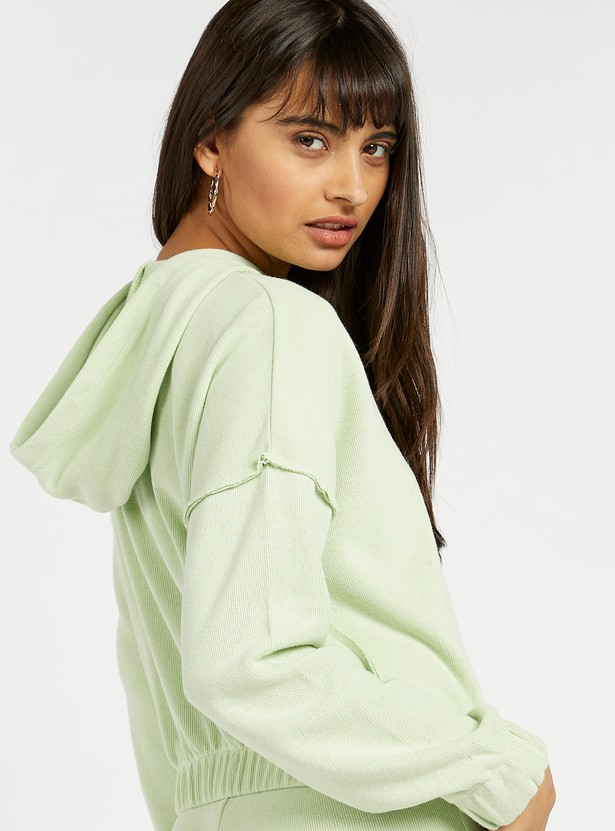 Solid Light Brushed Hoodie with Long Sleeves