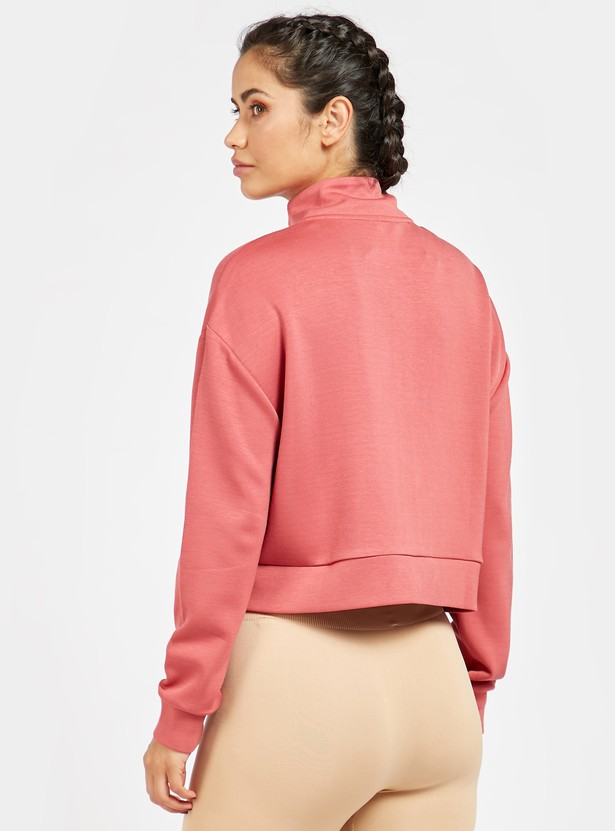 Solid High Neck Soft-Touch Jacket with Long Sleeves and Zip Closure