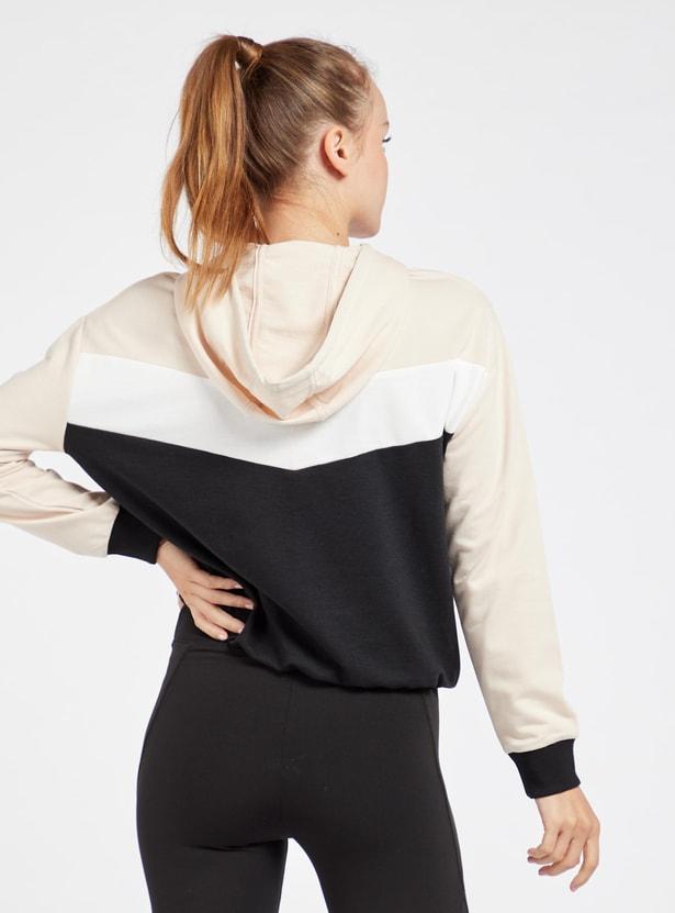 Colourblock Hoodie with Long Sleeves and Half Zip Closure