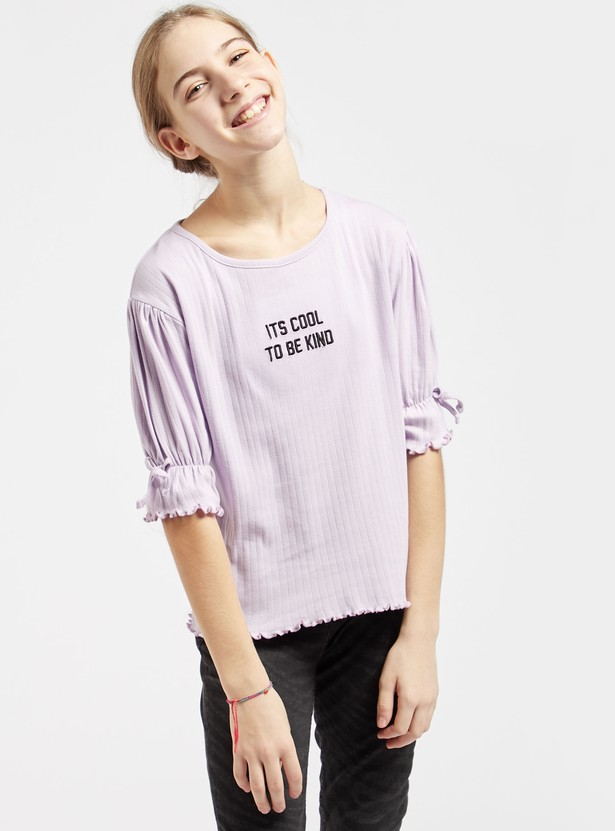 Ribbed Typographic T-shirt with Round Neck and 3/4 Sleeves
