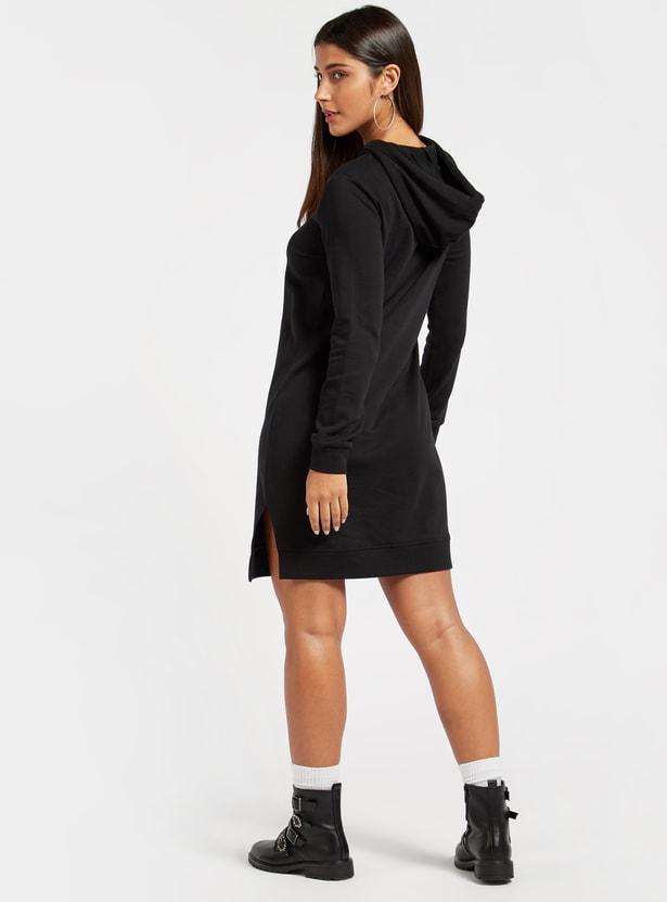 Embellished Detail Knee Length Sweatshirt Dress with Long Sleeves and Hood