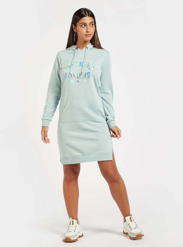 Embossed Print Sweat Dress with Long Sleeves and Kangaroo Pocket