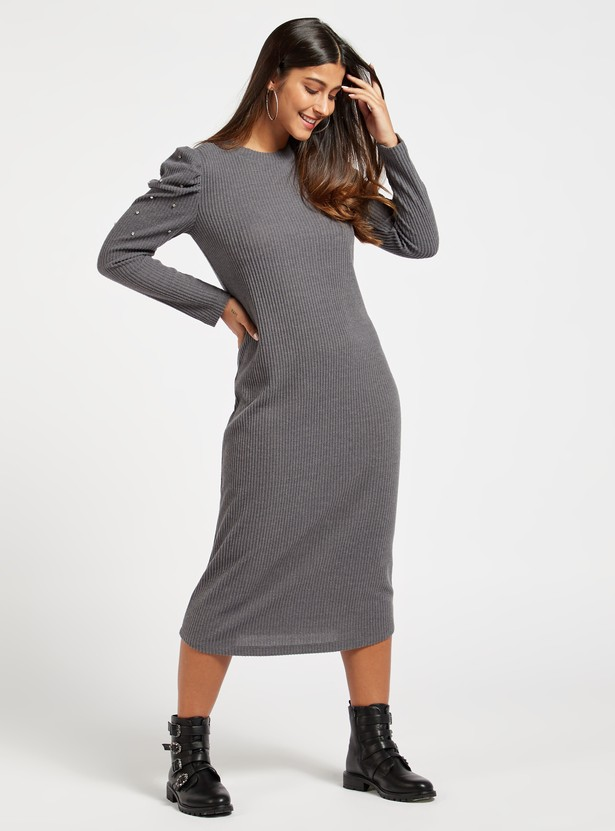 Ribbed Midi Shift Dress with Long Sleeves and Stud Detail