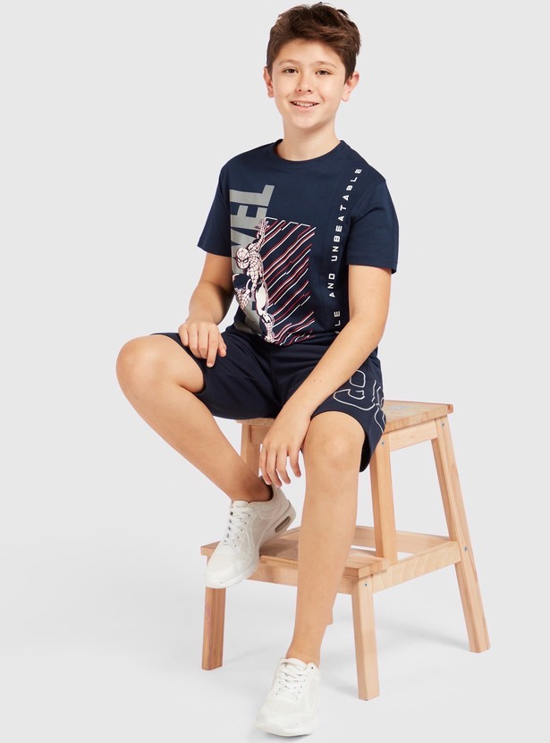 Spider-Man Print Round Neck T-shirt with Short Sleeves