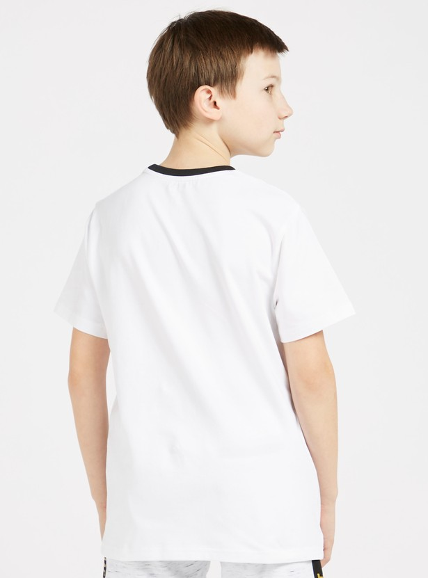 Printed T-shirt with Crew Neck and Short Sleeves