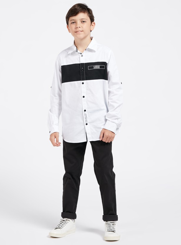 Cut and Sew Print Shirt with Spread Collar and Long Sleeves