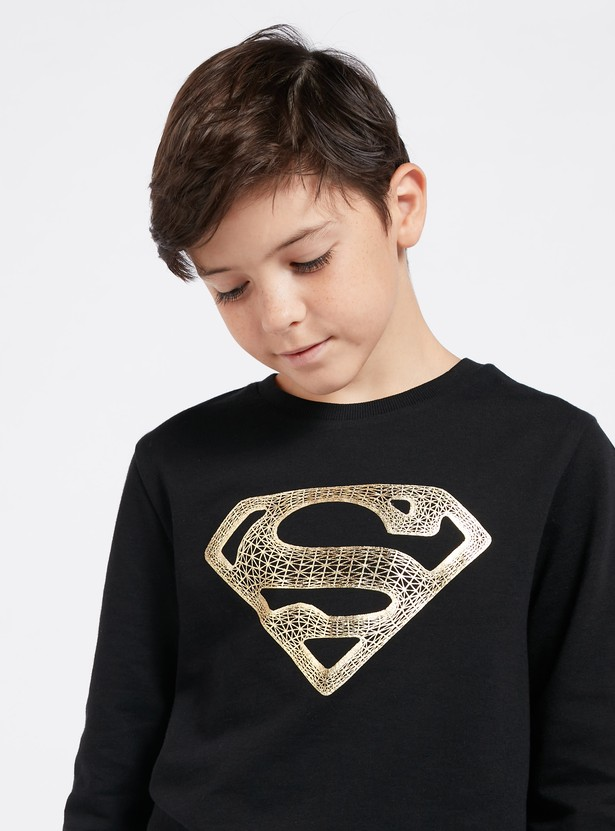 Superman Foil Print Sweatshirt with Round Neck and Long Sleeves