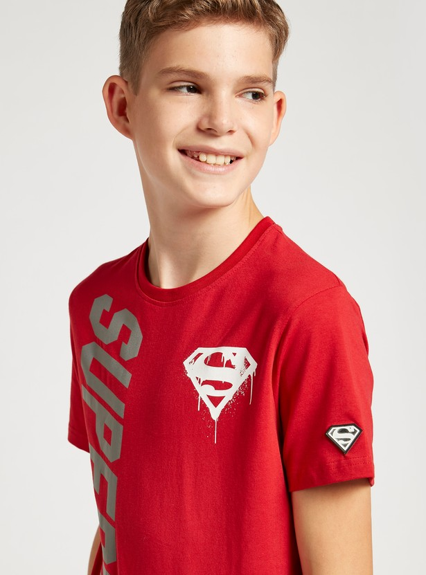 Superman Reflective Print Round Neck T-shirt with Short Sleeves