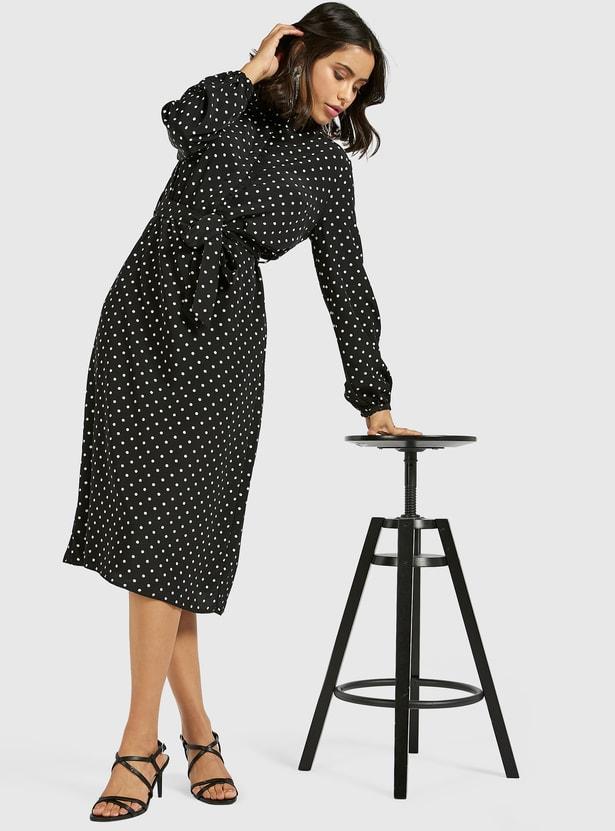 Polka Dot Midi Shirt Dress with Long Sleeves and Tie-Ups