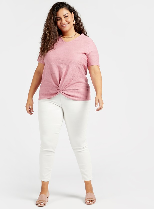 Textured Top with Short Sleeves and Knot Detail