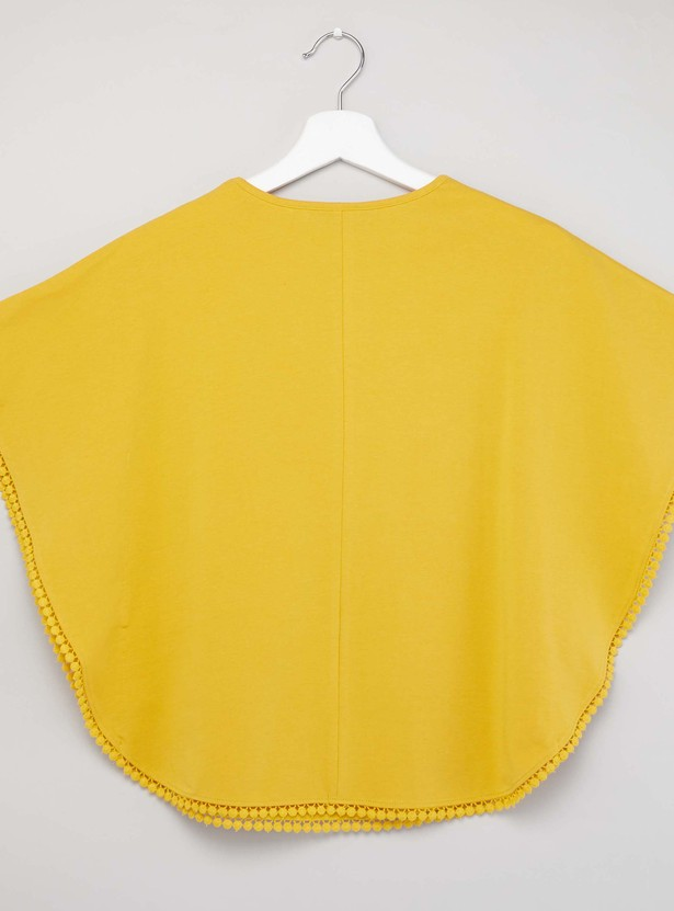 Printed Cape Top with Round Neck and Cap Sleeves