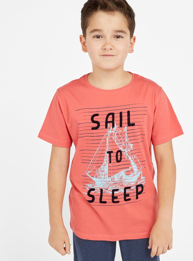 Printed Round Neck T-shirt and Solid Pyjama Set