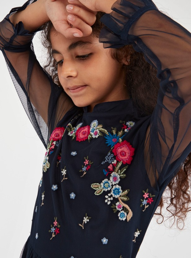 Floral Embroidered Dress with Long Sleeves