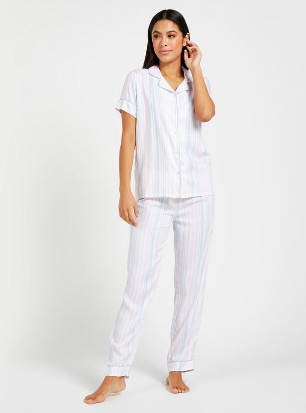 Striped Short Sleeves Shirt and Full Length Pyjama Set