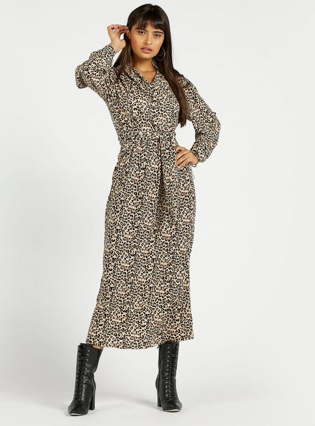 Animal Print A-line Midi Dress with Long Sleeves