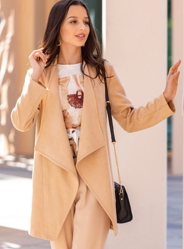 Solid Waterfall Jacket with Long Sleeves and Tie-Ups