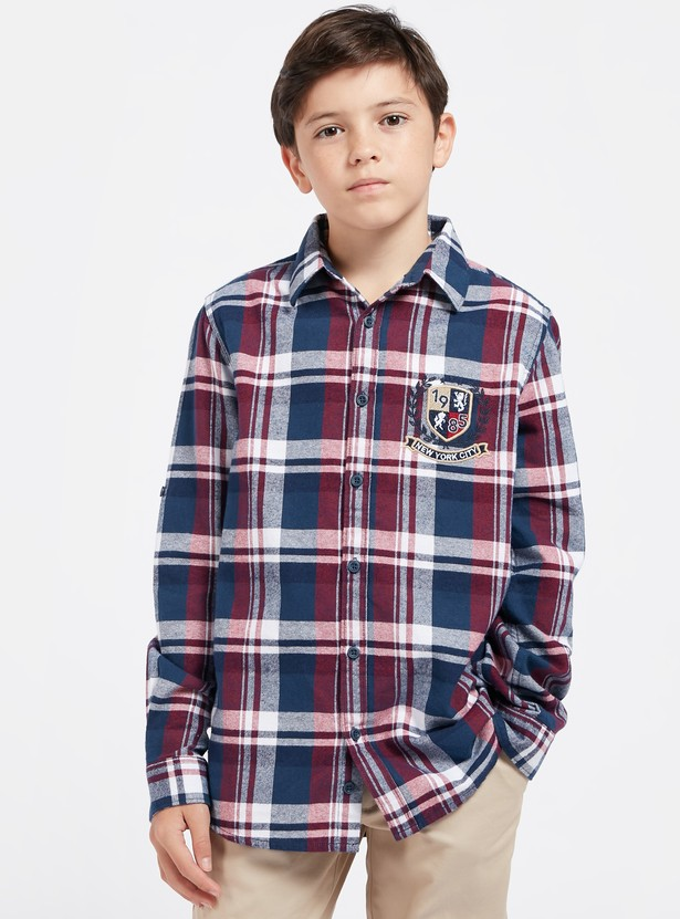 Chequered Plaid Shirt with Embroidery and Long Sleeves