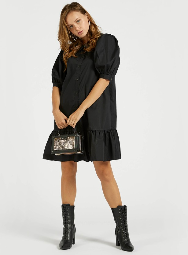Solid Tiered Dress with Puff Sleeves and Button Closure