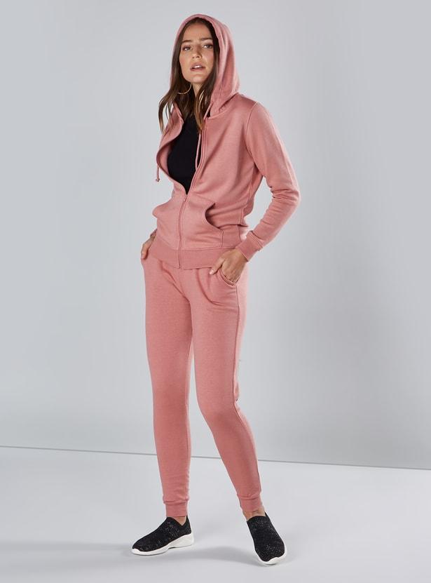 Full Length Plain Mid-Rise Jog Pants with Pocket Detail