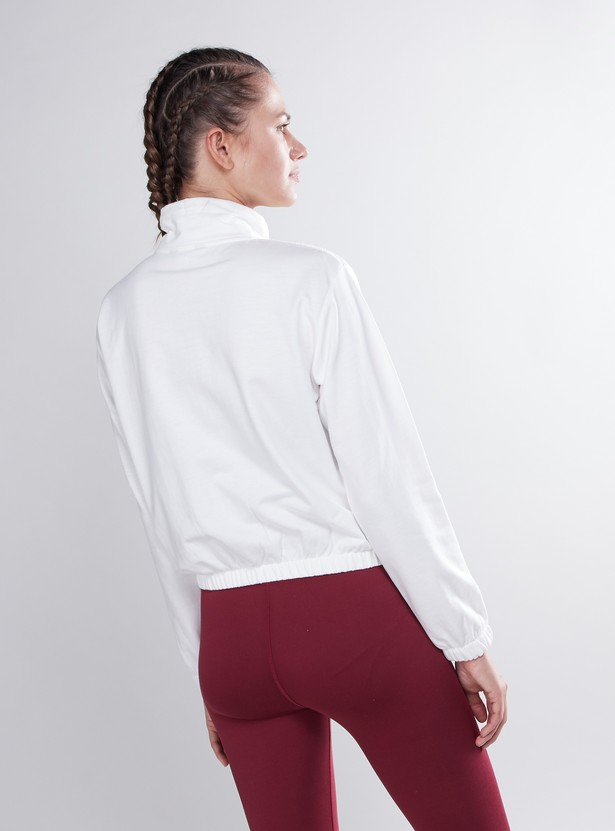 Textured Sweatshirt with High Neck and Long Sleeves