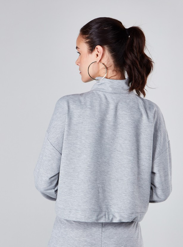 Plain Sweatshirt with High Neck and Long Sleeves