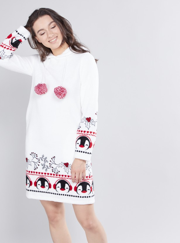 Cozy Collection Printed Sleepshirt with Long Sleeves and Hood