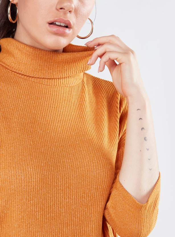 Ribbed High Neck Boxy Top with 3/4 Sleeves