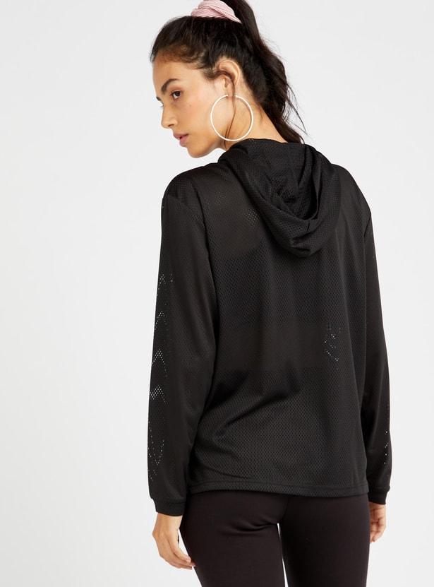 Printed Hood Neck Top with Long Sleeves