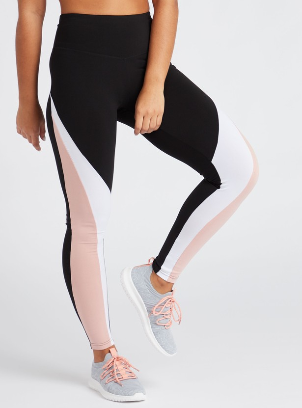 Slim Fit Full Length Solid Color Block Leggings with Elasticised Waist
