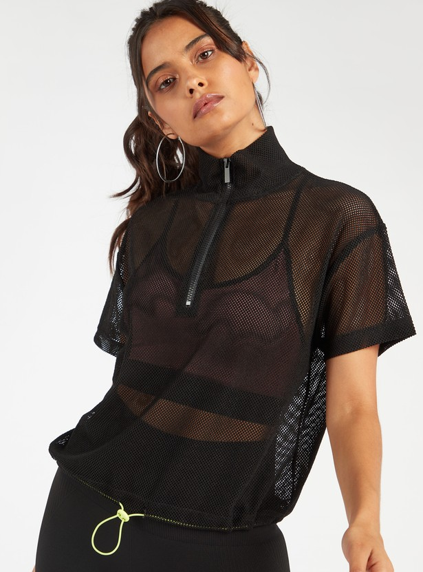 Mesh Top with High Neck and Toggle Hemline