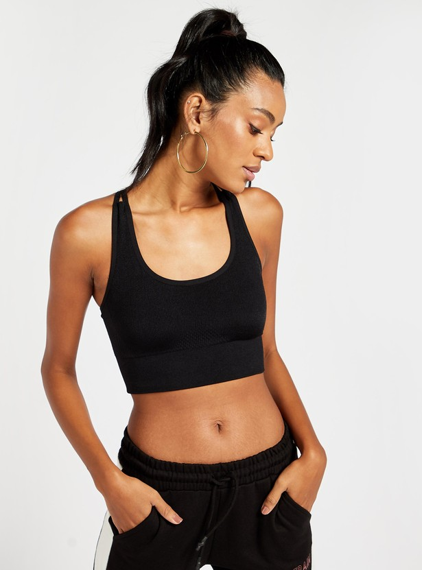 Slim Fit Solid Medium Support Sports Bra with Cross Straps