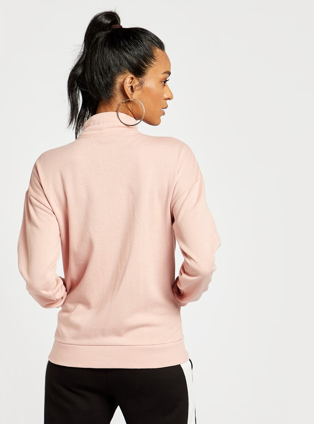 Solid High Neck Jacket with Pockets and Long Sleeves