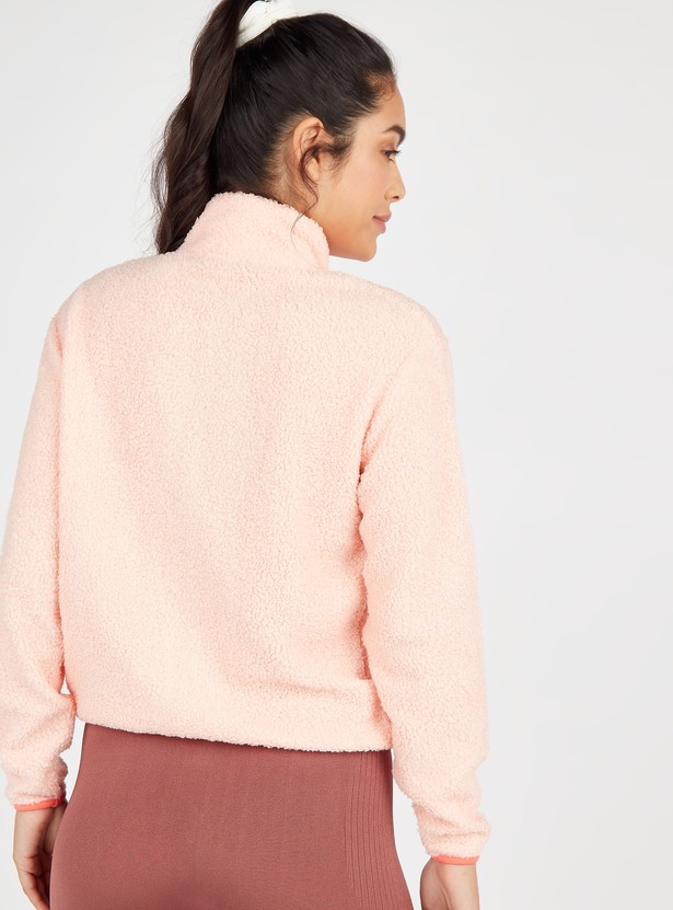 Sherpa Jacket with High Neck and Long Sleeves