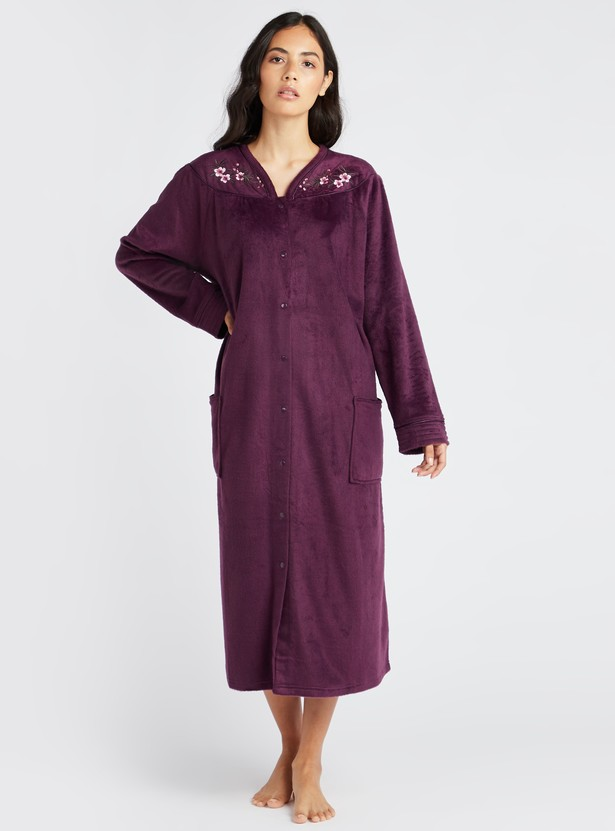Cozy Collection Textured 3/4 Sleep Gown with Long Sleeves and Pockets
