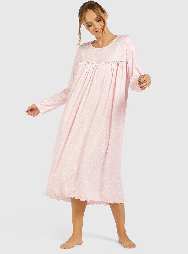 All-Over Print Sleep Gown with Round Neck and Long Sleeves