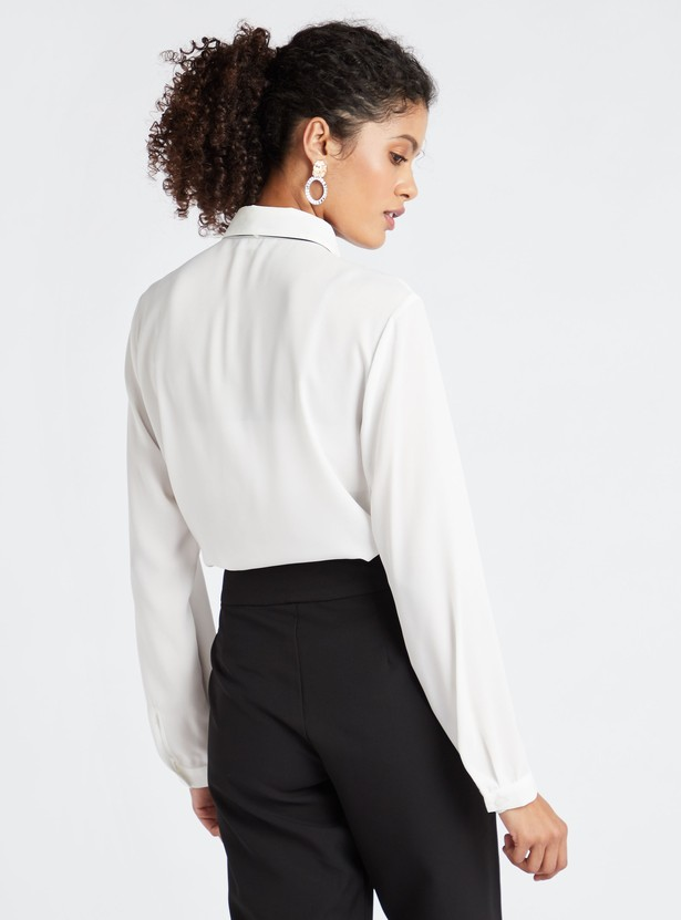 Solid Shirt with Contrast Pussy Bow Accent and Long Sleeves