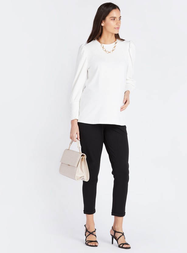 Solid Maternity Top with Round Neck and Long Sleeves