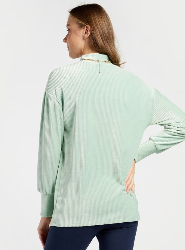Textured High Neck Maternity Top with Long Sleeves
