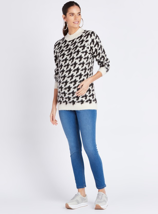 Maternity Printed Sweater with Long Sleeves