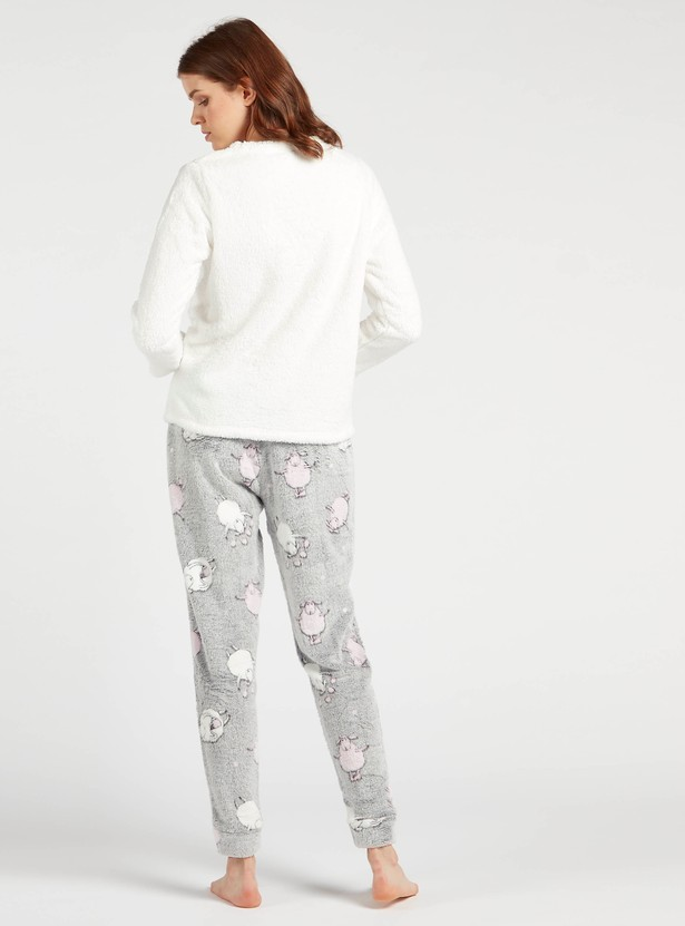 Cozy Collection Embroidered Plush Sweat Top with Printed Joggers