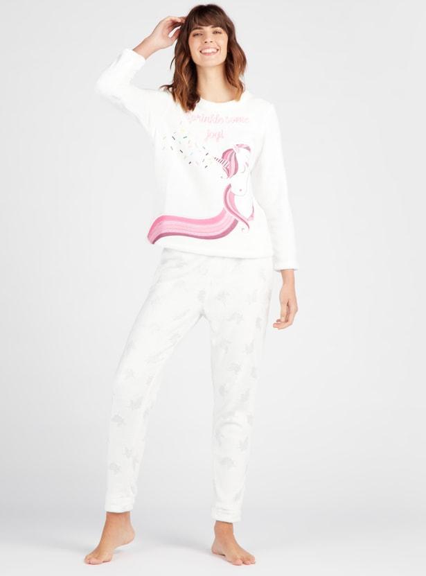 Cozy Collection Unicorn Round Neck T-shirt with Full Length Pyjama