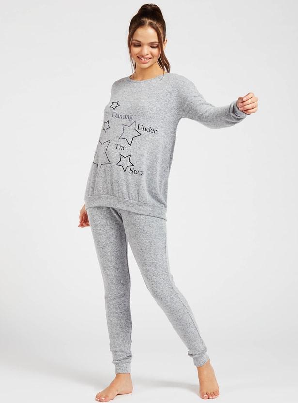 Printed Round Neck T-shirt and Full-Length Pyjama Set