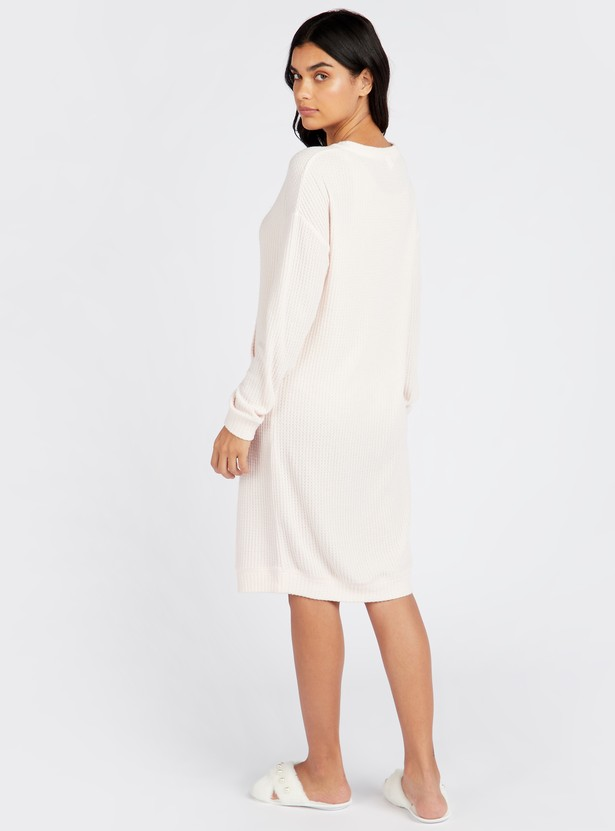 Cozy Collection Textured Round Neck Sleepshirt with Long Sleeves