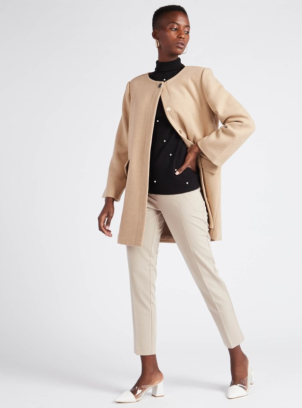 Solid Round Neck Overcoat with Long Sleeves and Button Closure