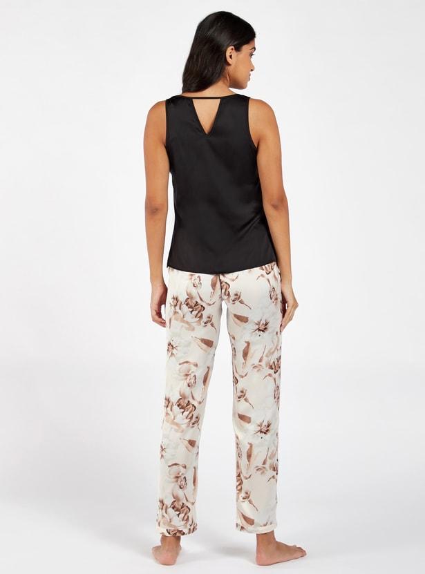 Solid Scoop Neck Sleeveless Top and Printed Pyjama Set