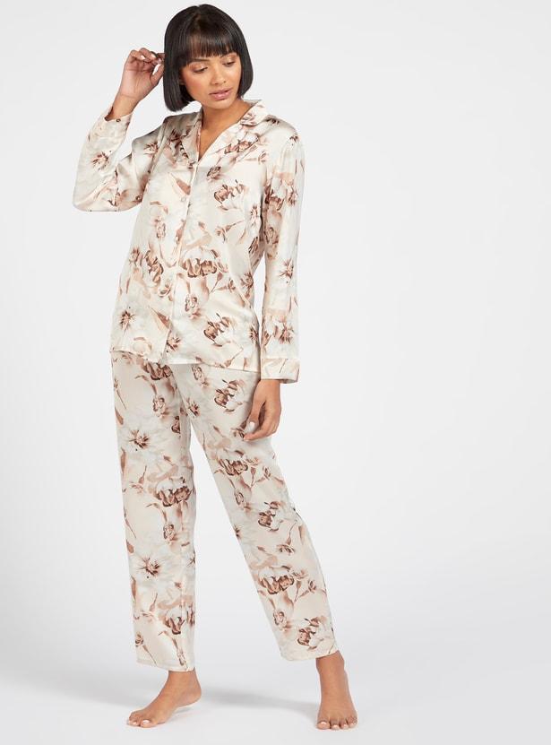Floral Print Collared Shirt and Full Length Pyjama Set