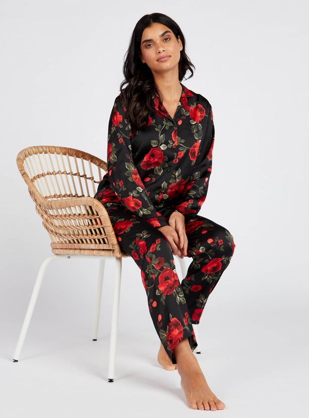 Floral Print Collared Shirt and Full Length Pyjama Set