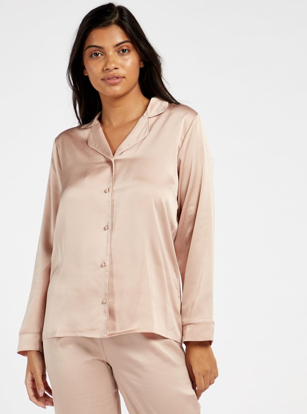 Solid Long Sleeves Sleepshirt and Full Length Pyjama Set