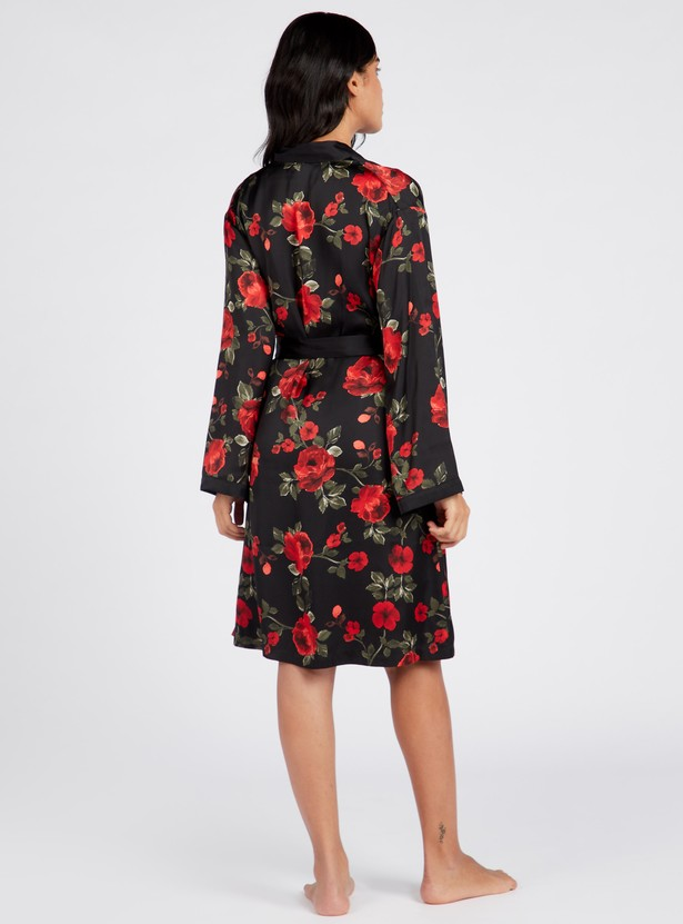 Floral Print V-neck Wrap Robe with Tie-Ups